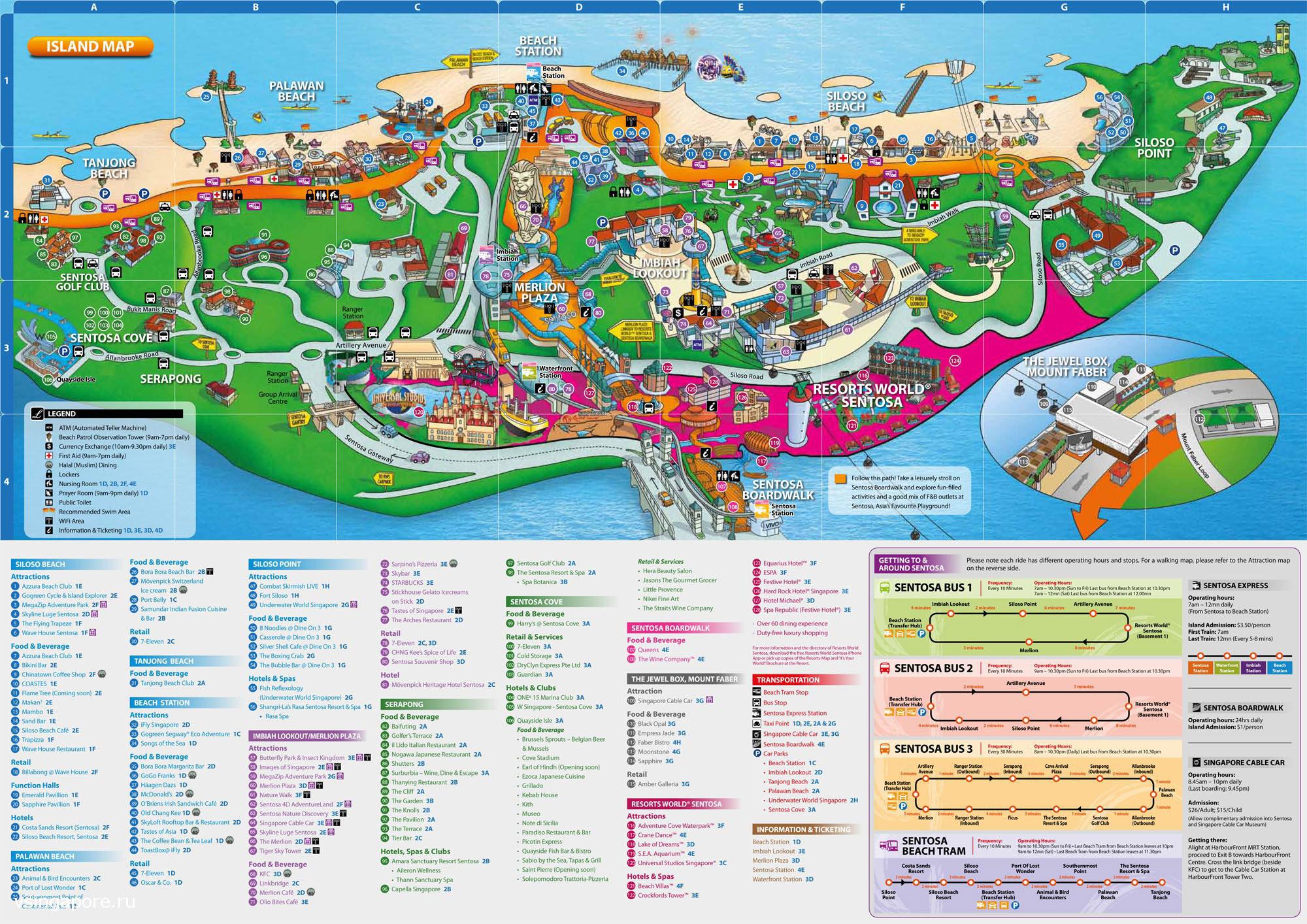 карта Сентоза