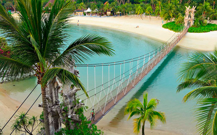 висячий мост на острове Сентоза