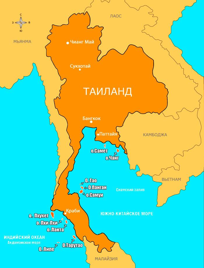 карта островов Тайланда