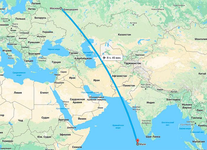 прямой перелет Москва-Мальдивы